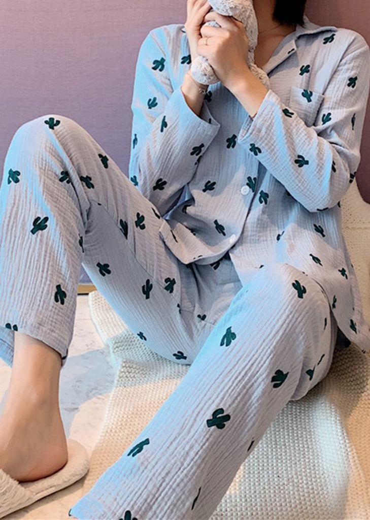 New Set 2 Pieces Women's Cactus Button Lace Long Sleeve Pajama/Free Shipping
