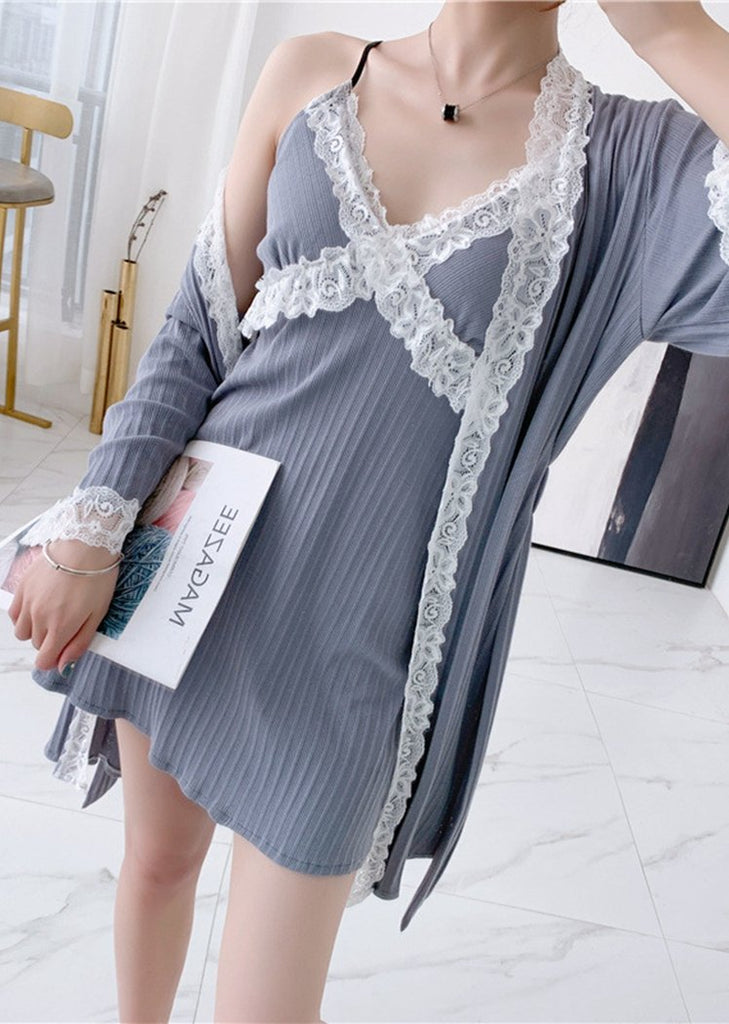 New Robe and Chemise Sleeveless V Neck Soft Lace Set 2 Pieces Long Sleeve/Free Shipping