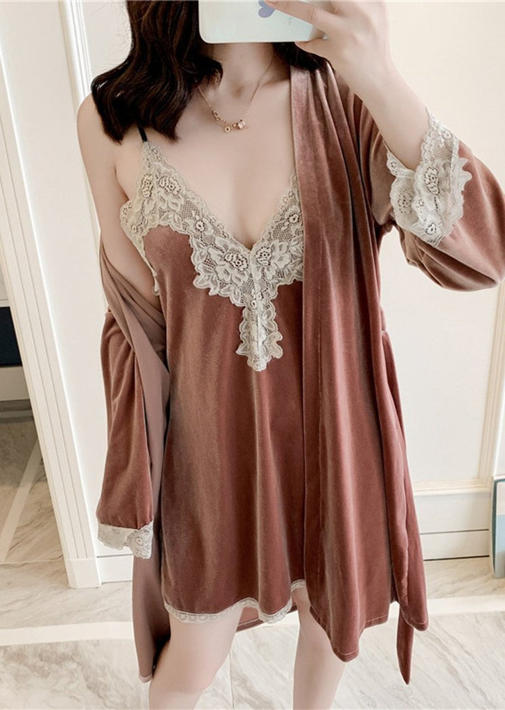 Womens Set 2 Pieces Soft Lace Long Sleeve Knit Robe and Chemise Sleeveless/Free Shipping
