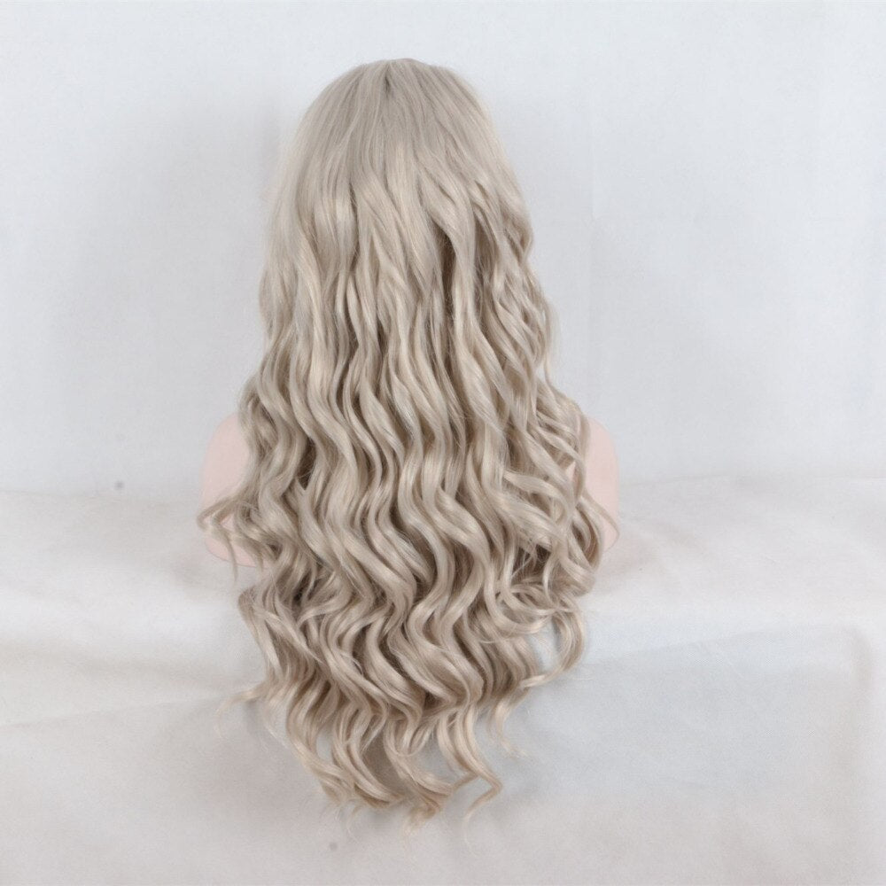 Ladiesstar Natural Looking Heat Resistant Fiber Platinum Blonde Loose Curly Synthetic Lace Front Wig For Women Replacement Wig/Free Shipping