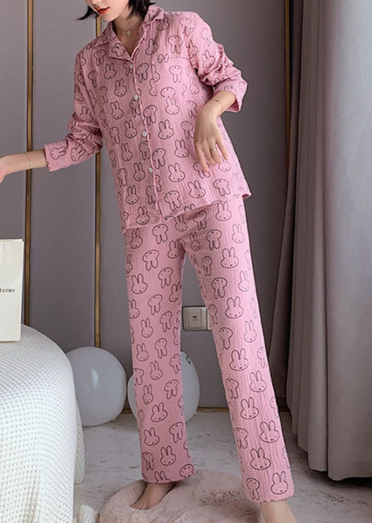New Set 2 Pieces Women's Rabbit Button Lace Long Sleeve Pajama/Free Shipping