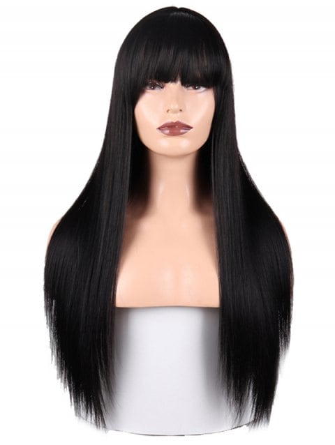 Ladystar Lace Front Wigs Full Fringe Long Straight Synthetic Wig