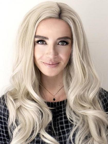 Gray waist length Wavy Synthetic Lace Wig