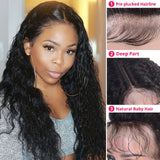Peruvian Lace Closure Water Wave Lace Front Human Hair Wigs Front Lace Wigs With Baby Hair Pre Plucked Natural Hairline Non Remy