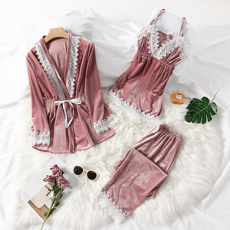 Set 3 Sleepwear Pieces Lace Trim V Neck Chemise Sleeveless nighties/Free Shipping