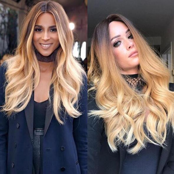 Long golden brown wave hair with lace front wig