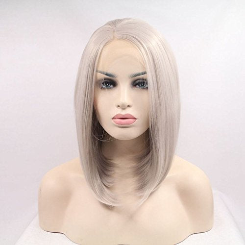 Ladiesstar Ash Blonde Short Bob Hair Women Wigs Silver Platinum Short Straight Synthetic Lace Front Wigs Heat Resistant