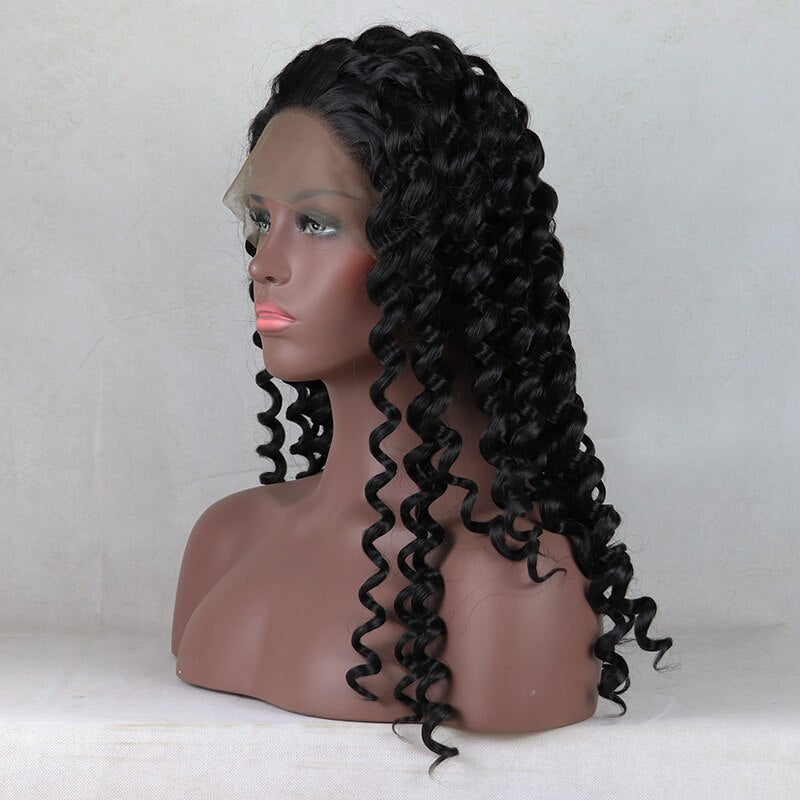 Fantasy Beauty Black Color Wave Synthetic Lace Front Wigs Glueless Lace Front Wigs For Black Women/Free Shipping