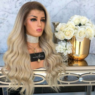 Sexy Natural Curly Lace Front Synthetic Wig Fashion Women Gradient Long Wigs/Free Shipping