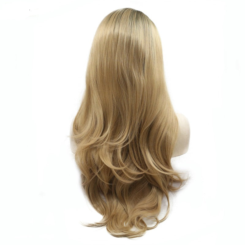 Ladiesstar Natural Hairline Wavy Dark Root Heat Resistant Fiber Glueless Synthetic Lace Front Ombre Blonde Wig