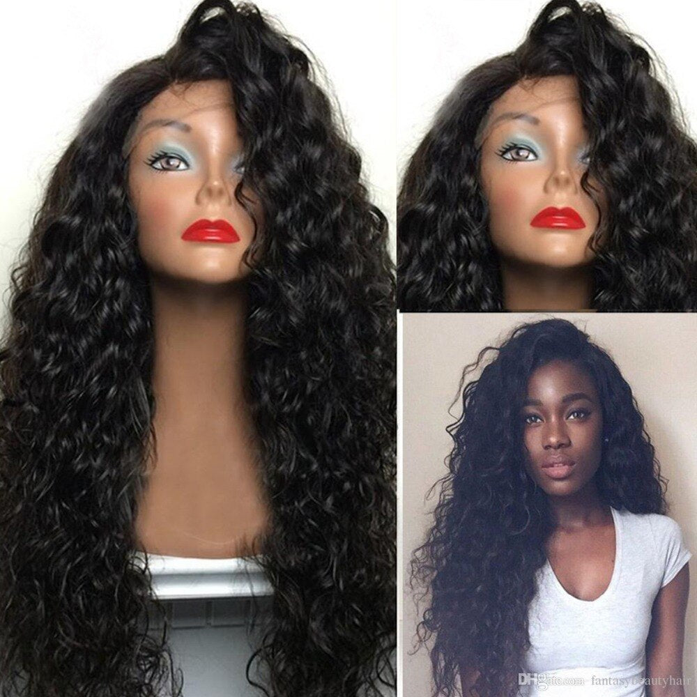Fantasy Beauty 180% Density Synthetic Lace Wigs Heat Resistant Hair Long Curly Synthetic Wigs for Black Women Side Part/Free Shipping