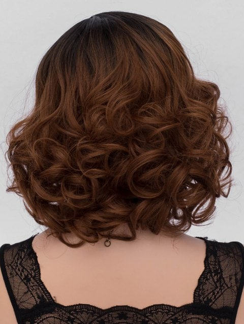 Short Side Parting Big Curly Ombre Synthetic Wig/Free Shipping