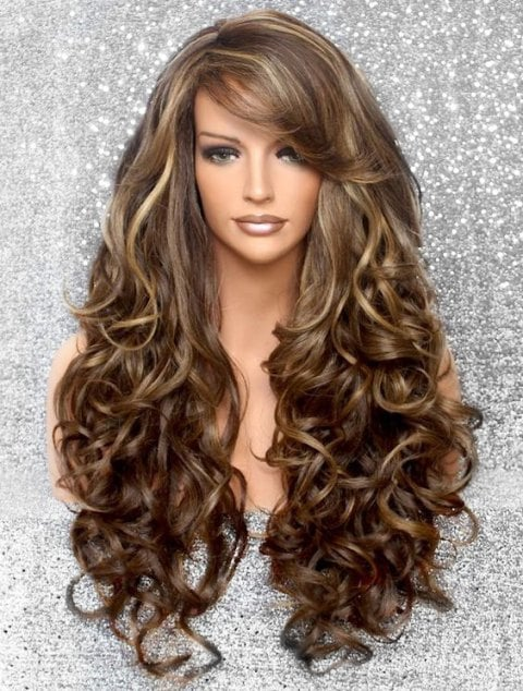 Ladystar Lace Front Wigs Side Bang Body Curly Long Synthetic Wig