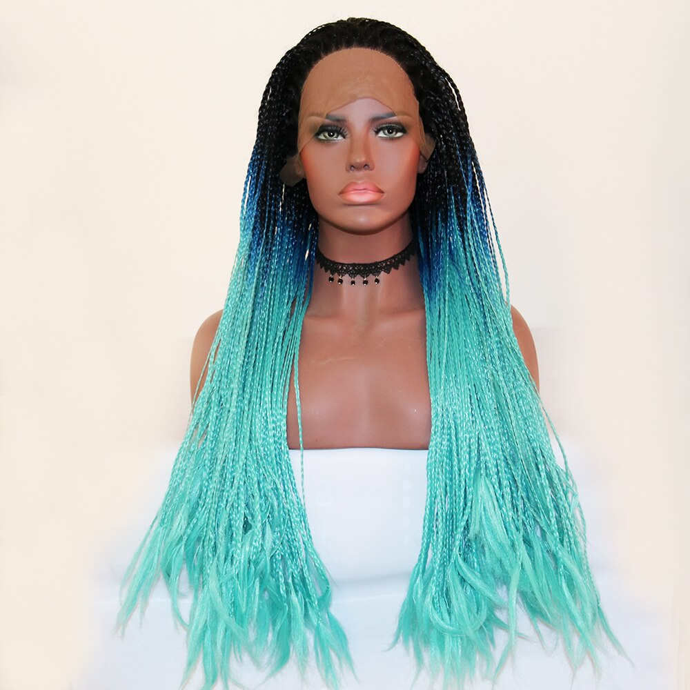 Fantasy Beauty Black Ombre Dark Blue Lace Front Wig Ombre Braided Box Braids Synthetic Wigs with Dark Roots for Black Woman/Free Shipping