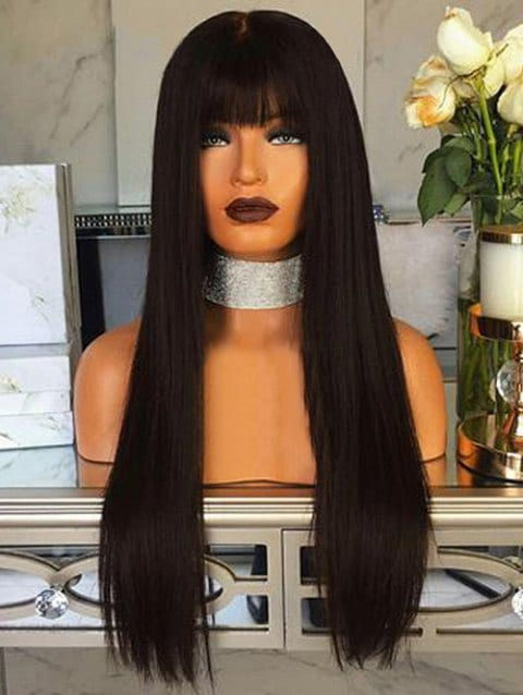 Ladystar Lace Front Wigs Full Bang Long Straight Capless Synthetic Wig