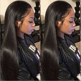 Brazilian Virgin Human Hair 150Density Natural Black Color Silk Straight Glueless Lace Front Wigs