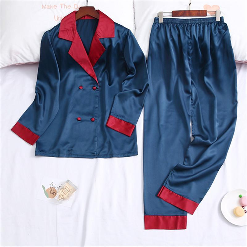Blue Color Block With Pocket Set 2 Sleepwear Pajama For Women/Free Shipping