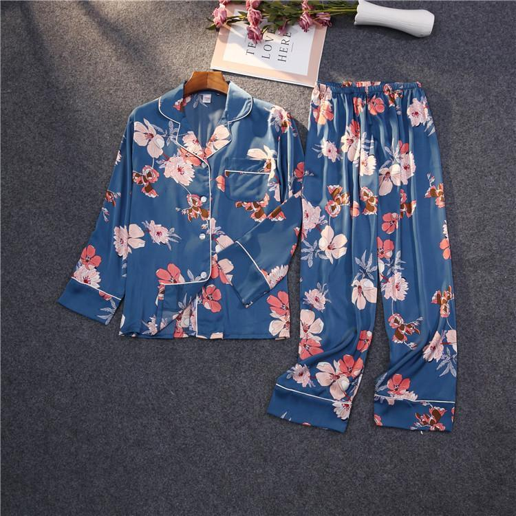 Flower Print Color Block With Pocket Set 2 Sleepwear Pajama For Women/Free Shipping