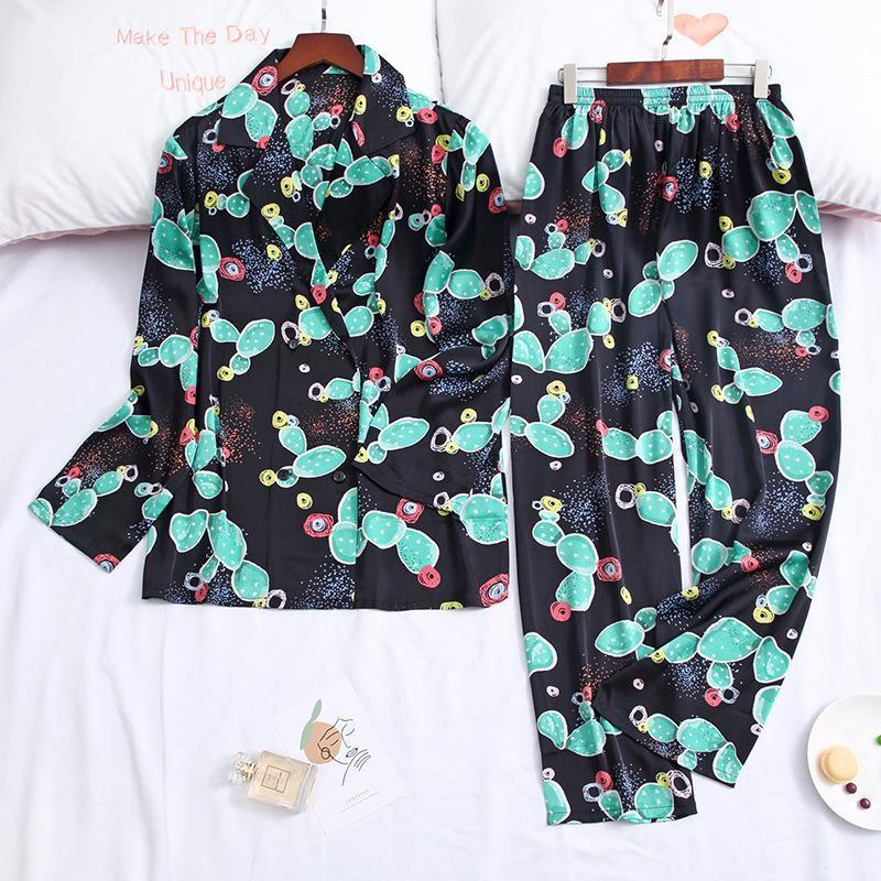 Cactus Print Pocket With Button Set 2 Sleepwear Pajama For Women/Free Shipping