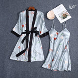 Women's Lace Up Printed Color Block Long Sleeve 2 Pieces Sleepwear Nighties/Free Shipping