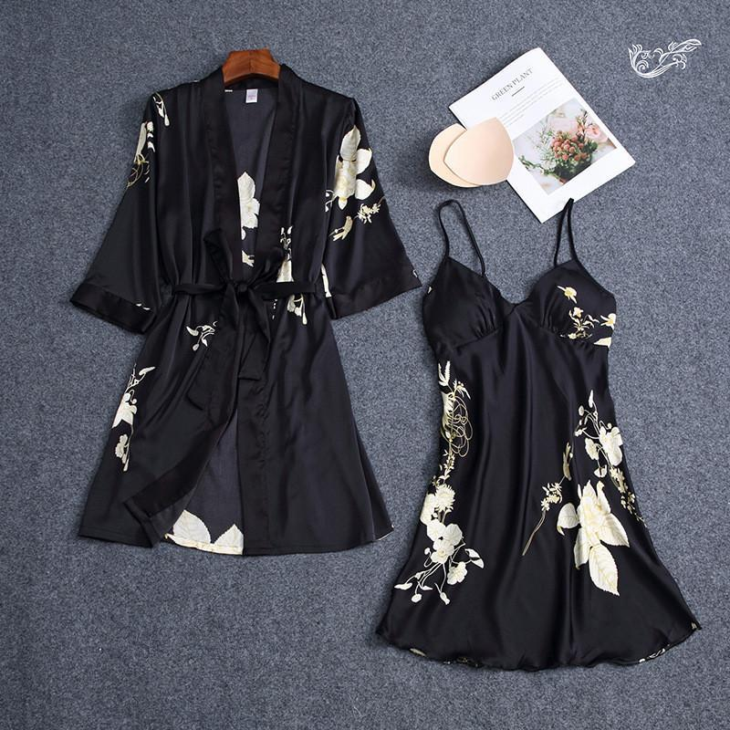 Flower Printed Lace Up Color Block 2 Pieces Sleepwear Nighties For Women/Free Shipping