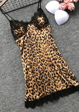 Leopard Printed  Lace Trim Halter Night Dress/Free Shipping