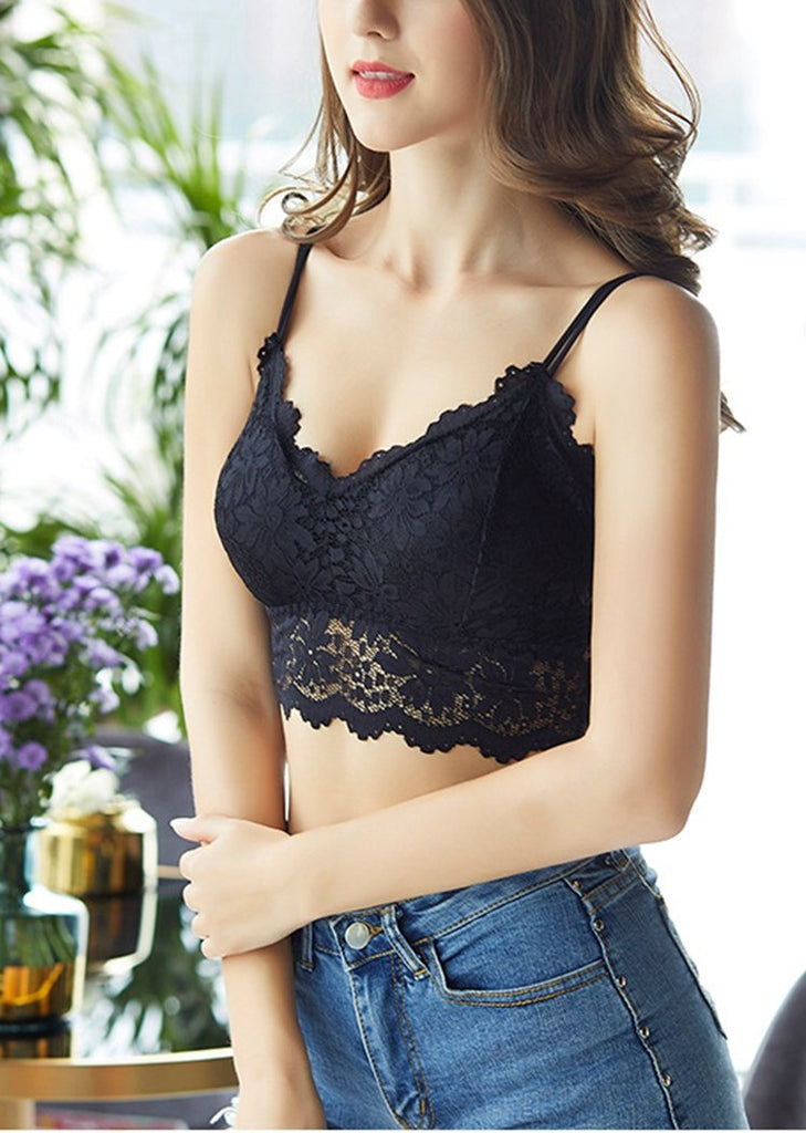 Lace Bralette Padded Lace Bandeau Bra with Straps for Women/Free Shipping