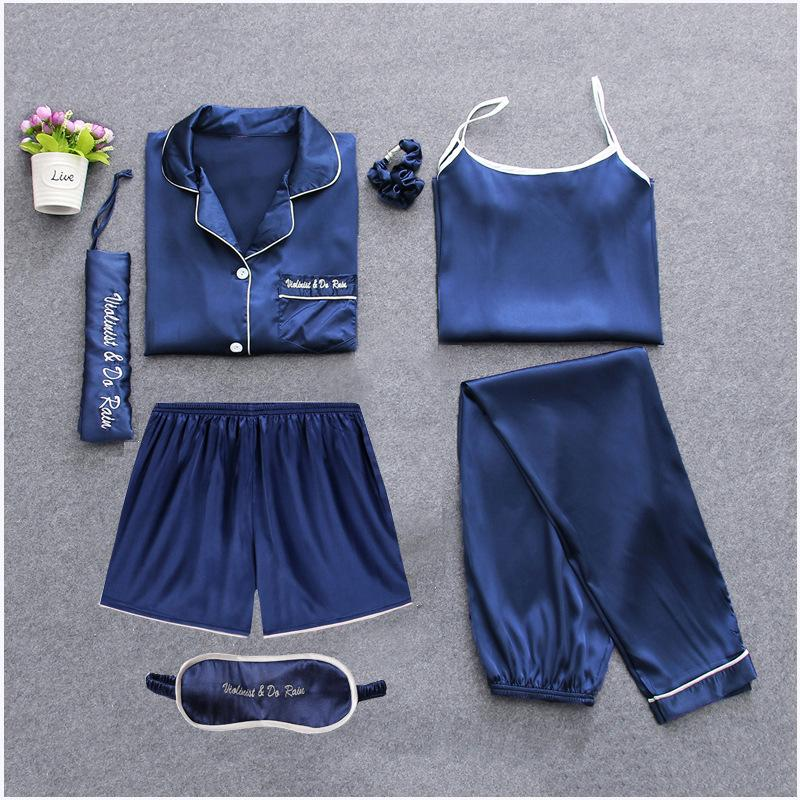 Solid Satin 7pcs Long Sleeve Satin Sleepwear Set Cami Pjs with Shirt and Eye Mask/Free Shipping