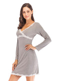 Women's V-neck Long Sleeve Sleepwear Dress with Lace Trim/Free Shipping