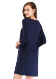 Women's V-neck Nightgown Lace trim Sleepwear Comfy Sleep Shirt Dress/Free Shipping