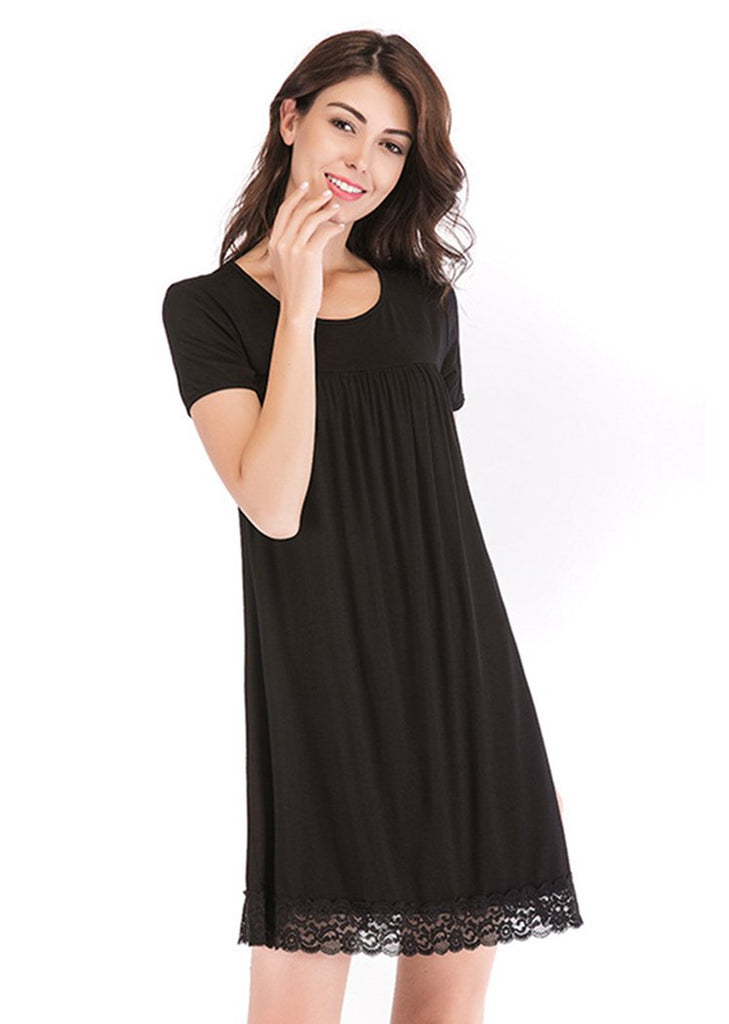 Women's Nightgown Short Sleeve Lace Trim Pleated Scoop neck Nightshirt/Free Shipping