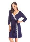 Robes Cotton Lace Trim 3/4 Sleeve Ladies Loungewear/Free Shipping