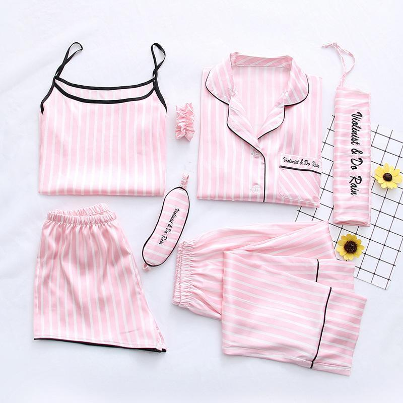 Women's Pink Stripe Printing 7pcs Satin Sleepwear Set Cami Pjs with Shirt and Eye Mask/Free Shipping