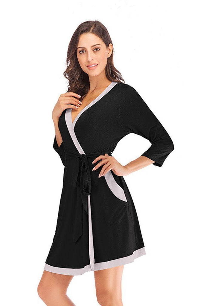 Robes Cotton Color Block Light Weight Sleepwear Ladies Loungewear/Free Shipping