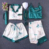 Green Leaves Printing 7pcs Satin Sleepwear Set Cami Pjs with Shirt and Eye Mask/Free Shipping