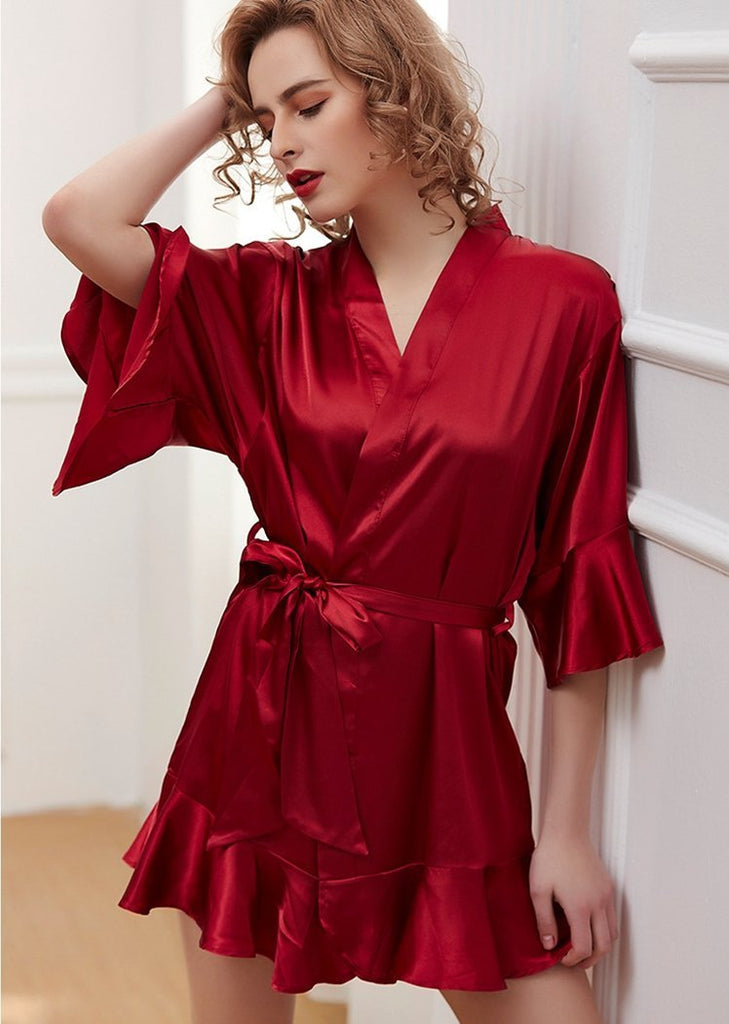 Women's Solid Color 7/10 Sleeve Lace Up Nightgown/Free Shipping