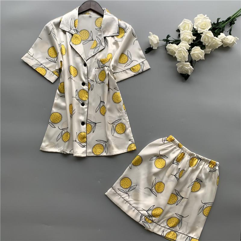 Sun Flower Printing Short Sleeve Loose Ice Silk Pajamas Set/Free Shipping