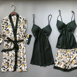 Tropical Leaves Printed Printed Silk  Lingerie Sleepwear 4 Pieces Set/Free Shipping