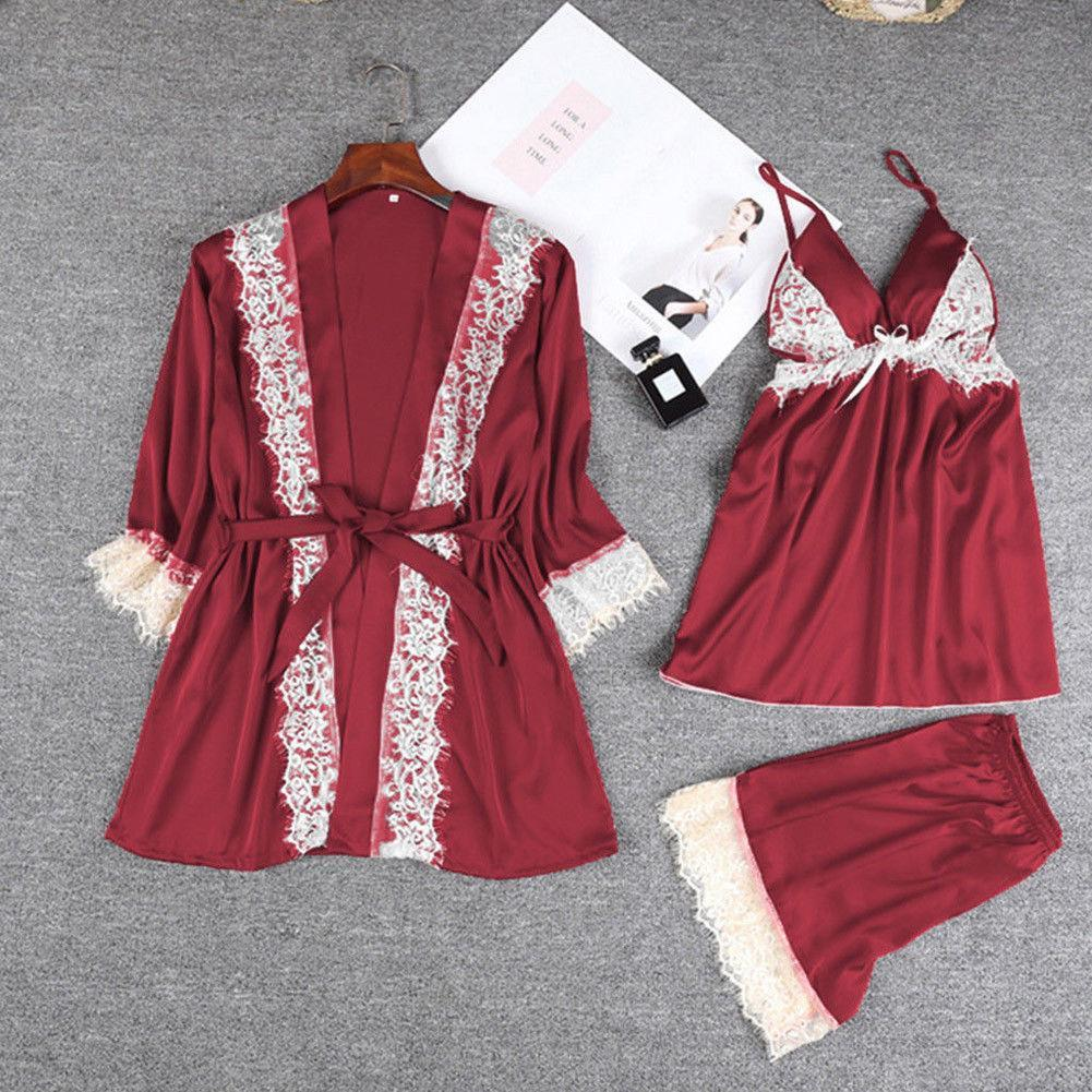 Satin Lace Trim Half Sleeve Lingerie Sleepwear 3 Pieces Set/Free Shipping