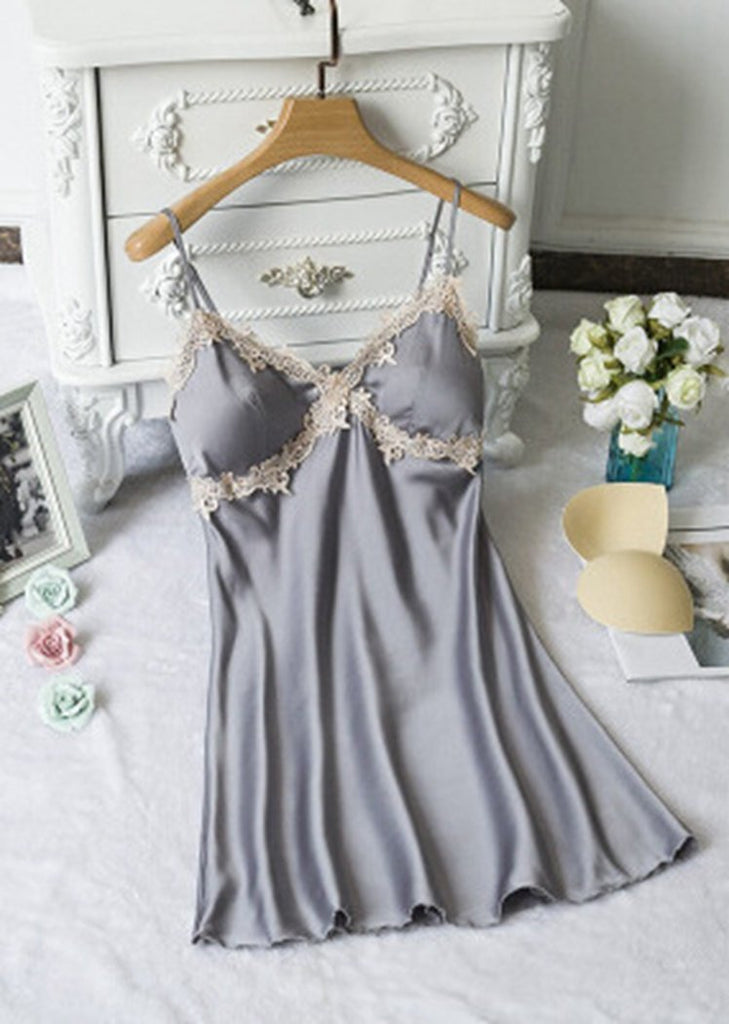 V-Neck Floral Trim Satin Lace Night Dress/Free Shipping