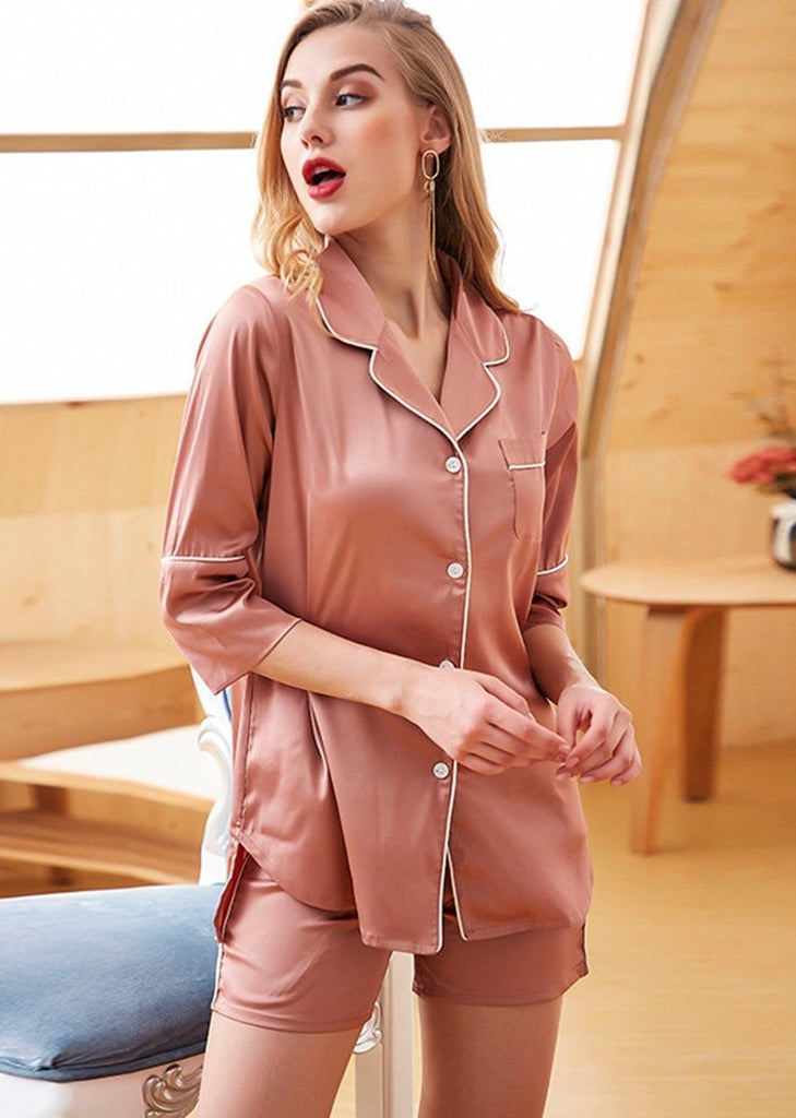 Women's Color Block 7/10 Sleeve Button 2 Pieces Sleepwear Set With Pocket/Free Shipping