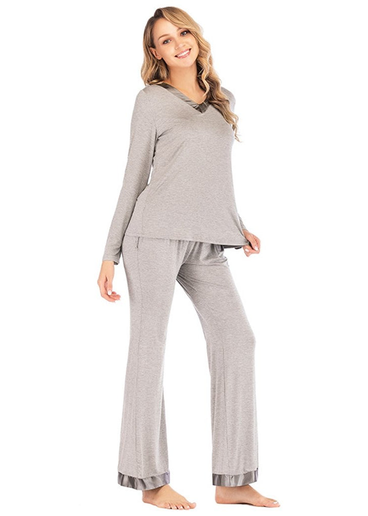 Pajamas Set Long Sleeve Sleepwear Womens V-neck Nightwear with Pocket/Free Shipping