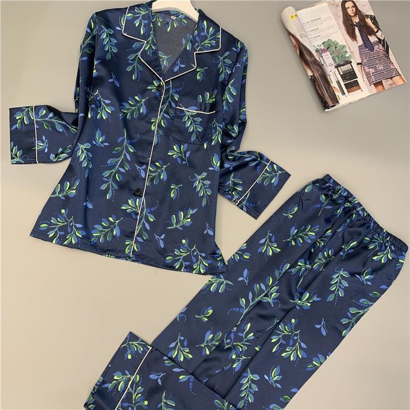 Green Leaves Silk Long Sleeve Sleepwear Set/Free Shipping