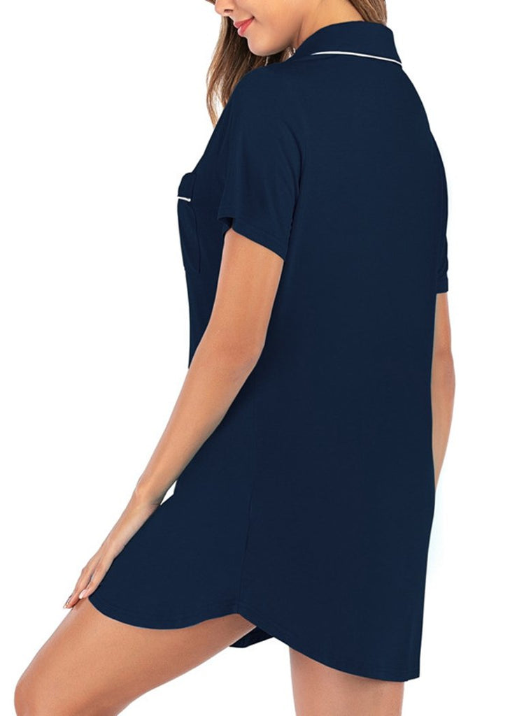 Women's  Short Sleeve Boyfriend Button Down Nightdress/Free Shipping