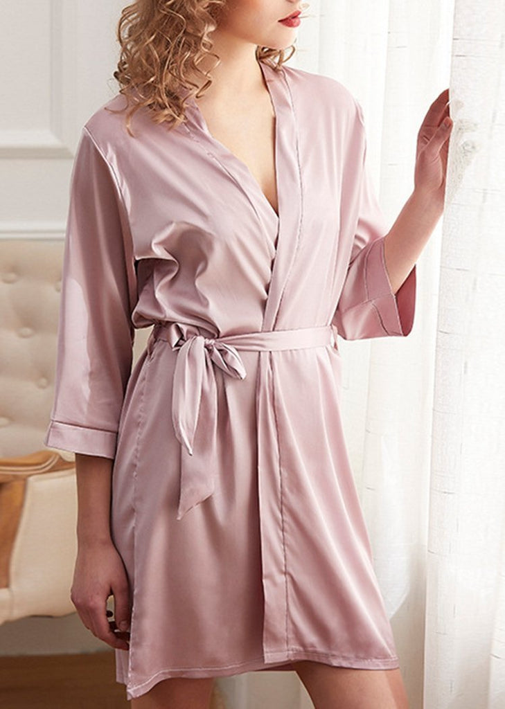 New Solid Color Lace Up Nightgown 7/10 Sleeve For Women/Free Shipping