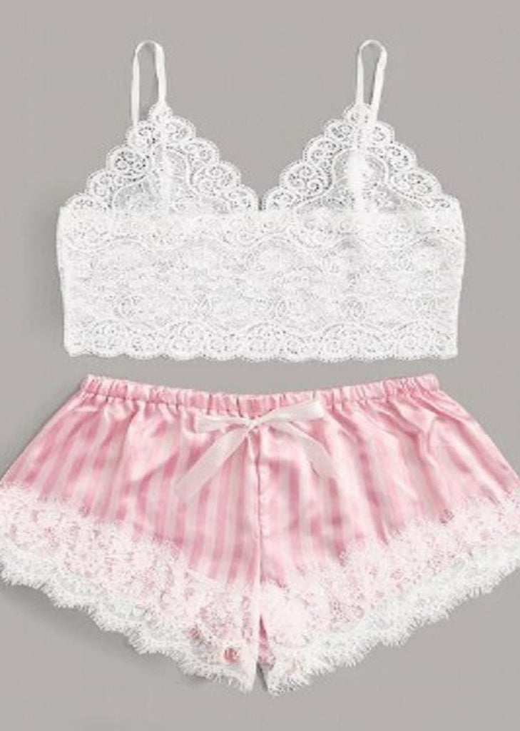 Wigsfox Lace V-Neck Camisole Pink Stripes Panty Cami Set/Free Shipping