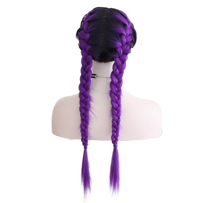 New Wig Fashion Middle Score Long Straight Purple Hair Multicolor Optional Braided Wig