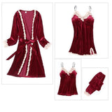 Golden Velvet Lace Trim 4 Pieces Sleepwear Sets/Free Shipping