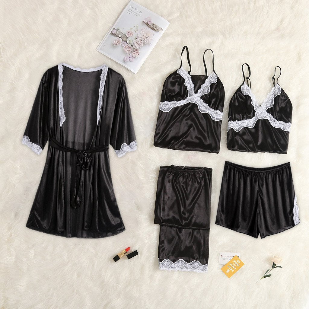 Satin Lace Trim Women Lingerie Sleepwear Set 5 Pieces/Free Shipping