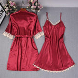 Lace Trim Satin Half Sleeve Lingerie Sleepwear 2 Pieces Set/Free Shipping